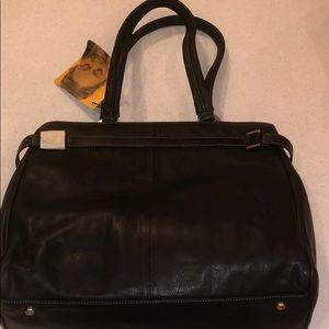 Franklin Covey black leather tote with tag